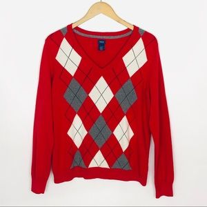 IZOD V Neck Sweater Women's Long Sleeve Argyle